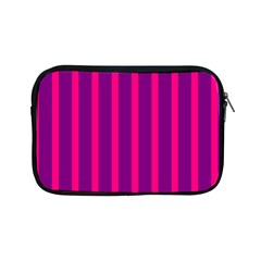 Deep Pink And Black Vertical Lines Apple Ipad Mini Zipper Cases by Amaryn4rt