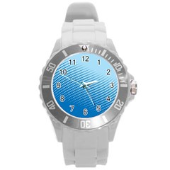 Blue Dot Pattern Round Plastic Sport Watch (l) by Amaryn4rt