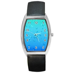 Blue Seamless Black Hexagon Pattern Barrel Style Metal Watch