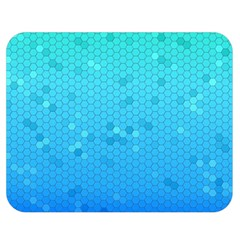 Blue Seamless Black Hexagon Pattern Double Sided Flano Blanket (medium)  by Amaryn4rt