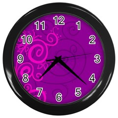 Floraly Swirlish Purple Color Wall Clocks (black) by Amaryn4rt