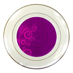 Floraly Swirlish Purple Color Porcelain Plates