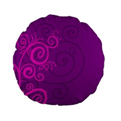 Floraly Swirlish Purple Color Standard 15  Premium Flano Round Cushions by Amaryn4rt