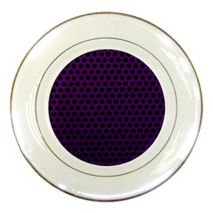 Dark Purple Metal Mesh With Round Holes Texture Porcelain Plates by Amaryn4rt