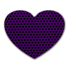 Dark Purple Metal Mesh With Round Holes Texture Heart Mousepads by Amaryn4rt