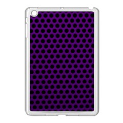 Dark Purple Metal Mesh With Round Holes Texture Apple Ipad Mini Case (white) by Amaryn4rt