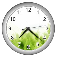 Green Leaves Pattern Wall Clocks (silver)  by Amaryn4rt