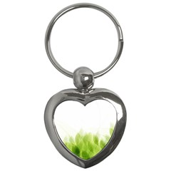 Green Leaves Pattern Key Chains (heart)  by Amaryn4rt