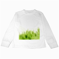 Green Leaves Pattern Kids Long Sleeve T Shirts by Amaryn4rt