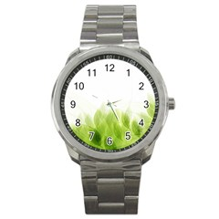 Green Leaves Pattern Sport Metal Watch by Amaryn4rt