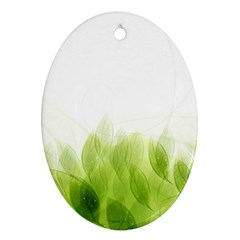 Green Leaves Pattern Oval Ornament (two Sides)