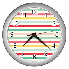 Papel De Envolver Hooray Circus Stripe Red Pink Dot Wall Clocks (silver)  by Amaryn4rt