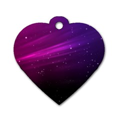 Purple Wallpaper Dog Tag Heart (two Sides)