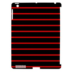 Red And Black Horizontal Lines And Stripes Seamless Tileable Apple Ipad 3/4 Hardshell Case (compatible With Smart Cover) by Amaryn4rt