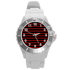 Red And Black Horizontal Lines And Stripes Seamless Tileable Round Plastic Sport Watch (l) by Amaryn4rt