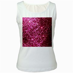 Pink Glitter Women s White Tank Top