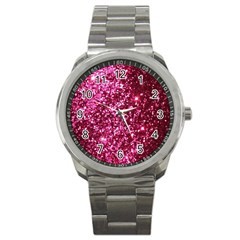 Pink Glitter Sport Metal Watch by Amaryn4rt