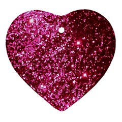 Pink Glitter Heart Ornament (two Sides) by Amaryn4rt