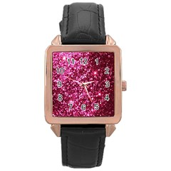 Pink Glitter Rose Gold Leather Watch  by Amaryn4rt