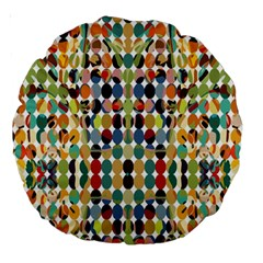 Retro Pattern Abstract Large 18  Premium Round Cushions by Amaryn4rt