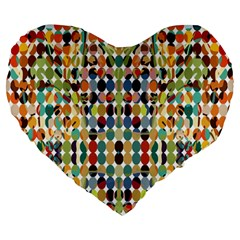 Retro Pattern Abstract Large 19  Premium Heart Shape Cushions