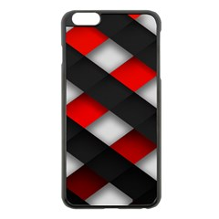 Red Textured Apple Iphone 6 Plus/6s Plus Black Enamel Case by Amaryn4rt