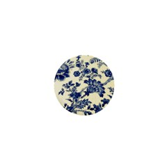 Vintage Blue Drawings On Fabric 1  Mini Buttons by Amaryn4rt
