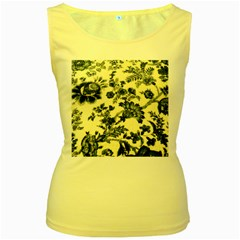 Vintage Blue Drawings On Fabric Women s Yellow Tank Top