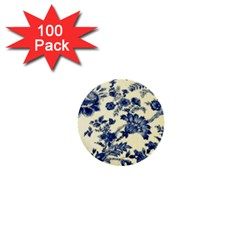Vintage Blue Drawings On Fabric 1  Mini Buttons (100 Pack)  by Amaryn4rt