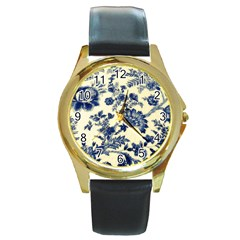 Vintage Blue Drawings On Fabric Round Gold Metal Watch by Amaryn4rt