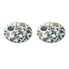 Vintage Blue Drawings On Fabric Cufflinks (oval) by Amaryn4rt