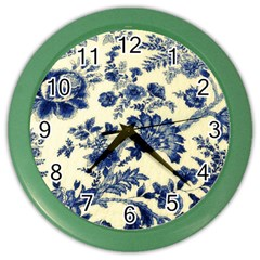 Vintage Blue Drawings On Fabric Color Wall Clocks by Amaryn4rt
