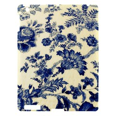 Vintage Blue Drawings On Fabric Apple Ipad 3/4 Hardshell Case by Amaryn4rt