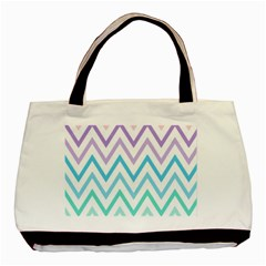 Colorful Wavy Lines Basic Tote Bag by Brittlevirginclothing