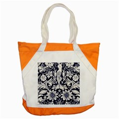 White Dark Blue Flowers Accent Tote Bag by Brittlevirginclothing