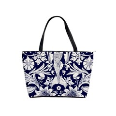 White Dark Blue Flowers Shoulder Handbags by Brittlevirginclothing
