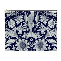 White Dark Blue Flowers Cosmetic Bag (xl) by Brittlevirginclothing