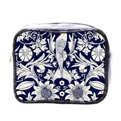 White Dark Blue Flowers Mini Toiletries Bags by Brittlevirginclothing