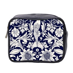 White Dark Blue Flowers Mini Toiletries Bag 2 Side by Brittlevirginclothing