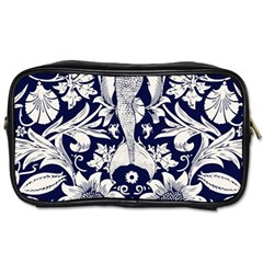 White Dark Blue Flowers Toiletries Bags by Brittlevirginclothing