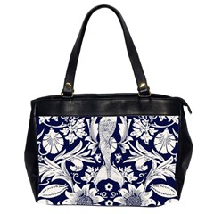 White Dark Blue Flowers Office Handbags (2 Sides)  by Brittlevirginclothing