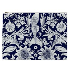White Dark Blue Flowers Cosmetic Bag (xxl)  by Brittlevirginclothing