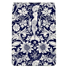 White Dark Blue Flowers Flap Covers (l)  by Brittlevirginclothing