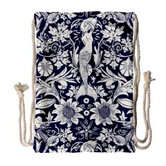 White Dark Blue Flowers Drawstring Bag (large) by Brittlevirginclothing