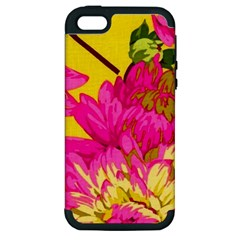 Colorful Pink Flower Apple Iphone 5 Hardshell Case (pc+silicone) by Brittlevirginclothing