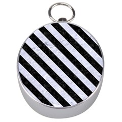 Stripes3 Black Marble & White Marble (r) Silver Compass by trendistuff