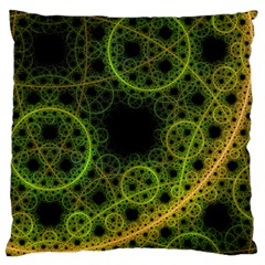 Abstract Circles Yellow Black Large Cushion Case (one Side) by Amaryn4rt