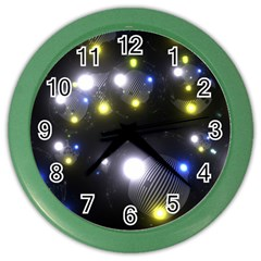 Abstract Dark Spheres Psy Trance Color Wall Clocks by Amaryn4rt