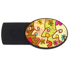Abstract Faces Abstract Spiral Usb Flash Drive Oval (4 Gb) by Amaryn4rt