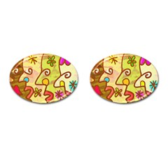 Abstract Faces Abstract Spiral Cufflinks (oval) by Amaryn4rt